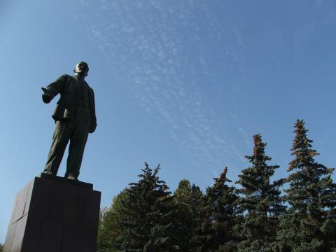 Ленин на городской площади